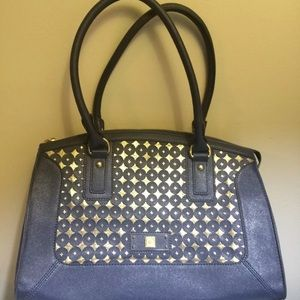 4/$35 Anne Klein leather look circle blue gold